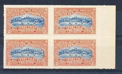 CINDERELLA Australasian New Hebrides Co Ltd 2d Block x 4 Blue & red brown MINT