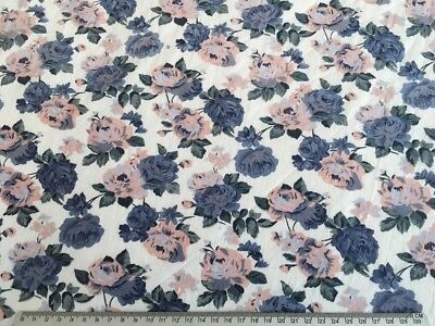 Vintage 100% Cotton Fabric Grey & Pink Roses 112 x 150cm Prewashed & UNUSED