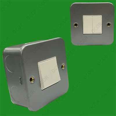 Double (2) Switch 2 Gang 2 Way 10AX Metal Clad Wall Mains Light Switch, Back Box