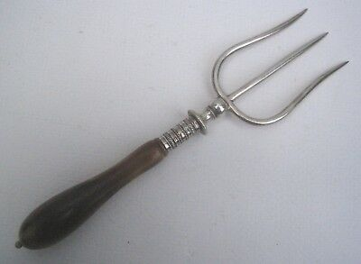 Antique Silver Plate Bread Fork with Turned Horn Handle