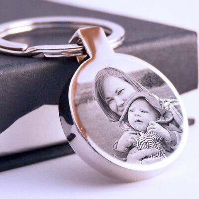 Metal round Keyring your Photo text engraved Personalised Valentine's day Gift