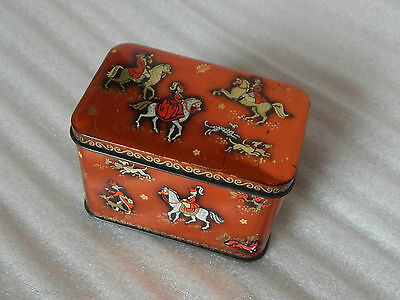 Art Deco small tin Stylised Horses and Dogs 10x6x6cm