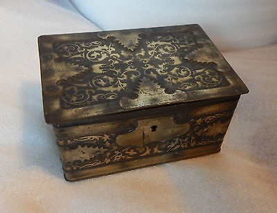 Edwardian Geo basset locking chest confectionry tin arts and crafts style