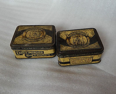 Pair of Eadies Improved Ring Travellers tin Textile industry 10cmx 8cm 4cm