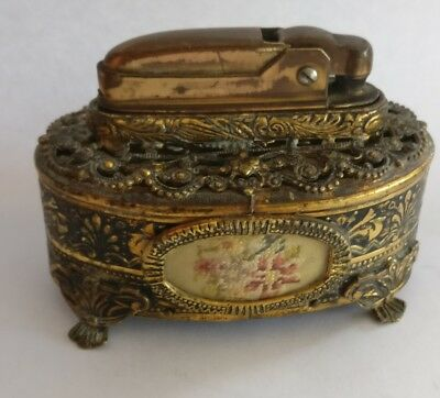 Antique early 1900's petit point table lighter