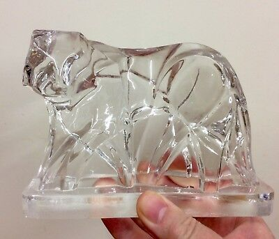 Crystal Glass Fox or Tiger Art Deco Style Baccarat? Unmarked VGC