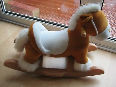 Rocking Horse, Soft Bodied in White and Fawn