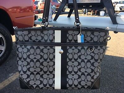 Coach Signature Multifunction Diaper Baby Tote Bag F13803 Black & Grey