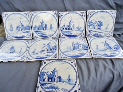 Nine 19Th Century Blue And White Delft Tiles