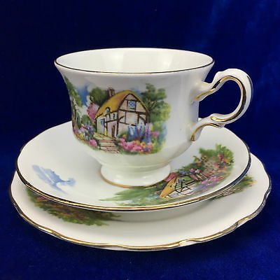 Queen Anne 8677 Bone China Trio TEA CUP SAUCER & PLATE MADE IN ENGLAND Porcelain