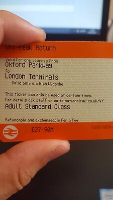 Single Oxford Parkway to London Stations. Valid for one month. Off-Peak.