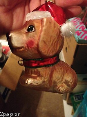 Rauch Industries NEW Santa Dog with Bell Ornament