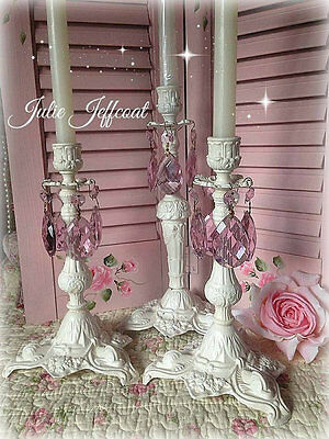 Shabby ~ Vintage ~ Pink Prisms ~ Metal ~ Ornate ~ Distressed ~ Candle Holders