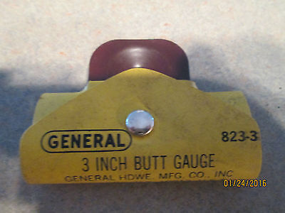 "GENERAL 3""  Butt Gauge No 823-3 With Case, Made in USA"