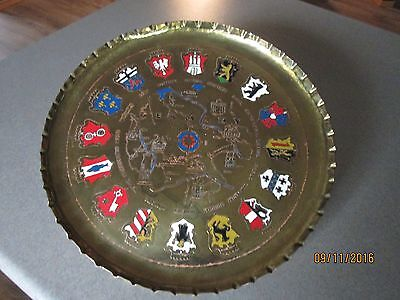 Vintage Brass Wall Hanging Plate Map of Germany and the Coats of Arms