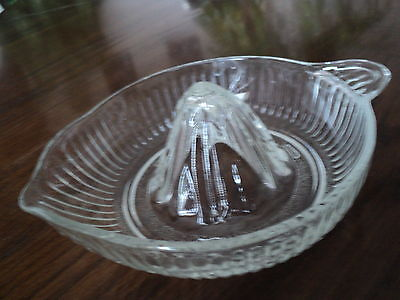 Vintage Juicer/Reamer Glass Ribbed  With Tab Handle