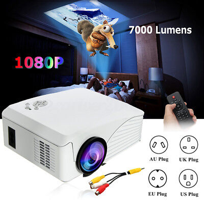 New 7000 Lumens HD 1080P Multimedia Portable Projector LED Home Theater HDMI USB
