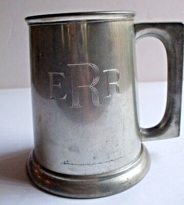 B.P.Co.Canada Pewter #1236 Mug with Glass Bottom and ERR engraving