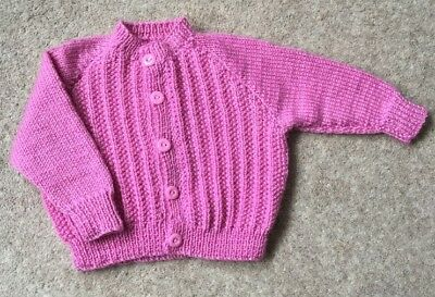 Brand New Hand Knitted Pink Baby's Cardigan 6-12 Months