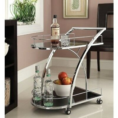 Tea Serving Cart Bar Trolley Utility Rolling Wheels Kitchen Tempered Glass NEW