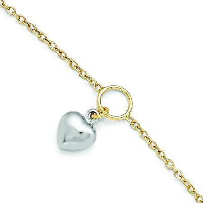 Leslie's 14k Two-tone Gold Polished Heart Anklet w/1in ext LF290-10