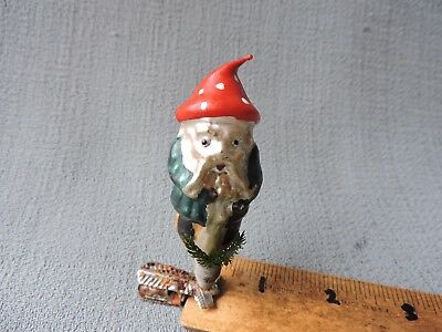 Antique German Glass Christmas Ornament GNOME WITH MUSHROOM HAT 1940's