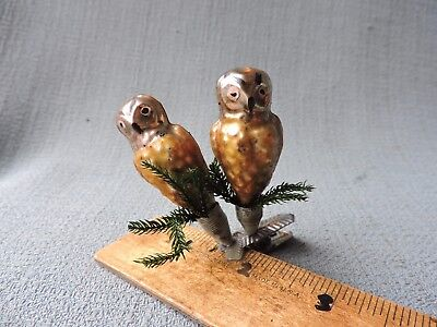 Antique German Glass Christmas Ornament TWO OWLS ON A BRANCH 1940's