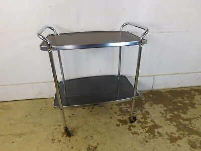 PRESERVED Cosco '59 Rolling SMOOTH Mid Century Serving Tea Bar Cart SHINY Chrome