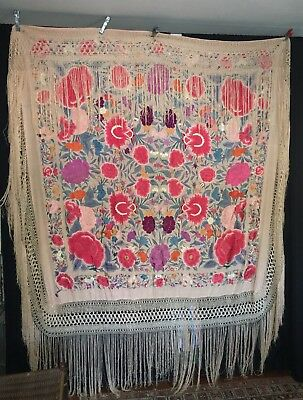 """Antique Canton Chinese Hand Embroidered Silk Piano Shawl 62"""" + 22"""" Fringe"""