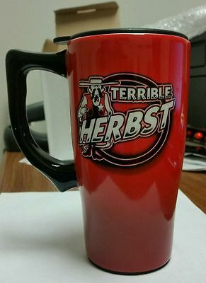 Terrible Herbst- 14 Oz Ceramic Travel Mug With Sealed Top !!!new And Sealed!!!