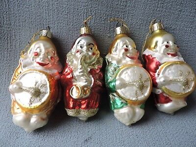 Antique German Glass Christmas Ornament CLOWN BAND Lot of 4 Ornaments 1950's