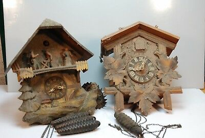 2 Vintage Cuckoo Clocks With 3 Weights (For Restoration) 1 Musical