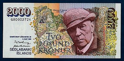 Iceland Banknote 2000 Kronur Low Serial No 1986 UNC