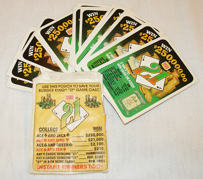 "Burger King 1981 Scratch Off & Win Cards ""21"" Game Lot Of 15 Used Cards"