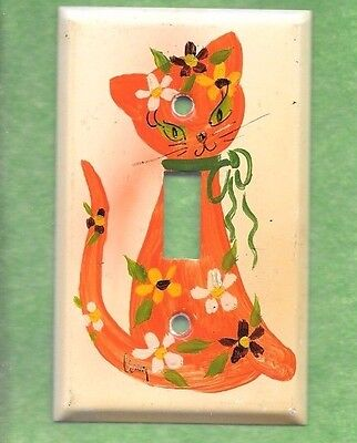 Groovy Vintage Hand Painted Hippy Kitty Single Light Switch