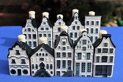 10 KLM (BOLS) Blue Delft's miniature houses, year (2016) at the base, sealed
