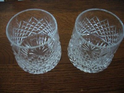 Tyrone Crystal  Roly Poly Whiskey glasses ,Sperrins pattern, unused, ETCHED