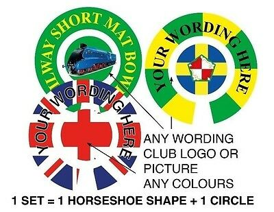 """6 Sets Personalised Bowl Stickers Any Wording & Artwork 1"""" Bowls"""