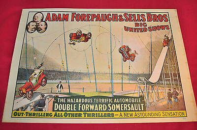 "Adam Forepaugh & Sells Bros. United Shows -  Vintage Poster  appx 14"" x 19"""