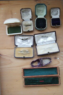 MIXED LOT of VINTAGE + ANTIQUE JEWELLERY BOXES, RING, BROOCH, PIN etc