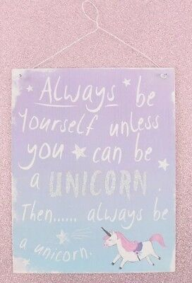 Metal Purple Unicorn Bedroom Door Wall Plaque Quote Sign Hanging Shabby Chic