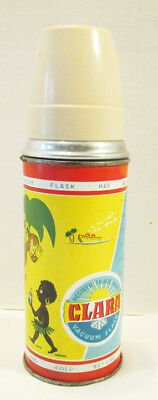 CLARA RARE METAL THERMOS BOTTLE AFRICAN NATIVE PENGUIN ESKIMO MONKEY 1950's 60's