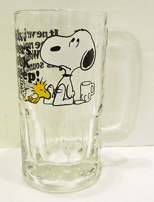 SNOOPY & WOODSTOCK 1970's HEAVY GLASS ROOT BEER BAR MUG~PEANUTS~IT NEVER FAILS..