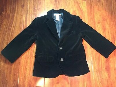 Janie and Jack Boys Classic Black Velour Button Jacket Size 2T