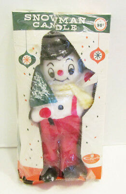 Snowman Snow Man Figural Christmas Candle By Capri Unused In Box Vintage Frosty