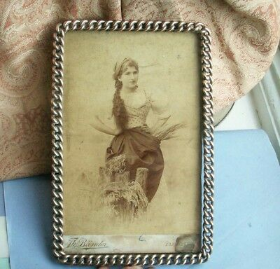 Old Vintage Antique Brass Ormolu Chain Photo Frame c.1880 Victorian Photograph