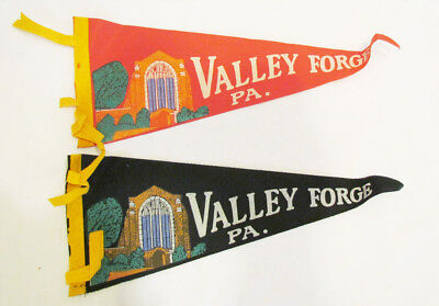 VALLEY FORGE, PA, PENNSYLVANIA SOUVENIR PENNANT PAIR 2 DIFFERENT COLORS 1960's