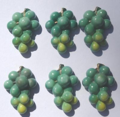 Vintage TOSHIKANE Arita Porcelain Figural Button LOT of 6 GREEN GRAPES Japan
