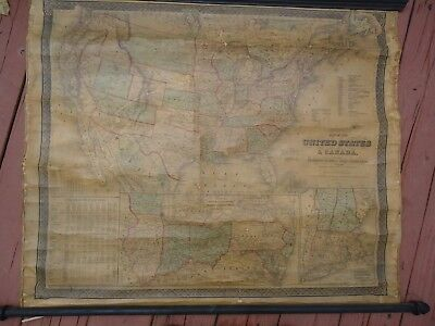 1862 Civil War era Goldthait's Map of the United States and Canada 35 x 29