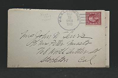 USS Lawrence 1910 Cover + Letter to Stockton, California